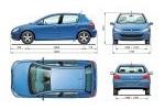 Peugeot 307 1.6 109CV Gama 307 Turismo Técnica Dimensiones 5 puertas